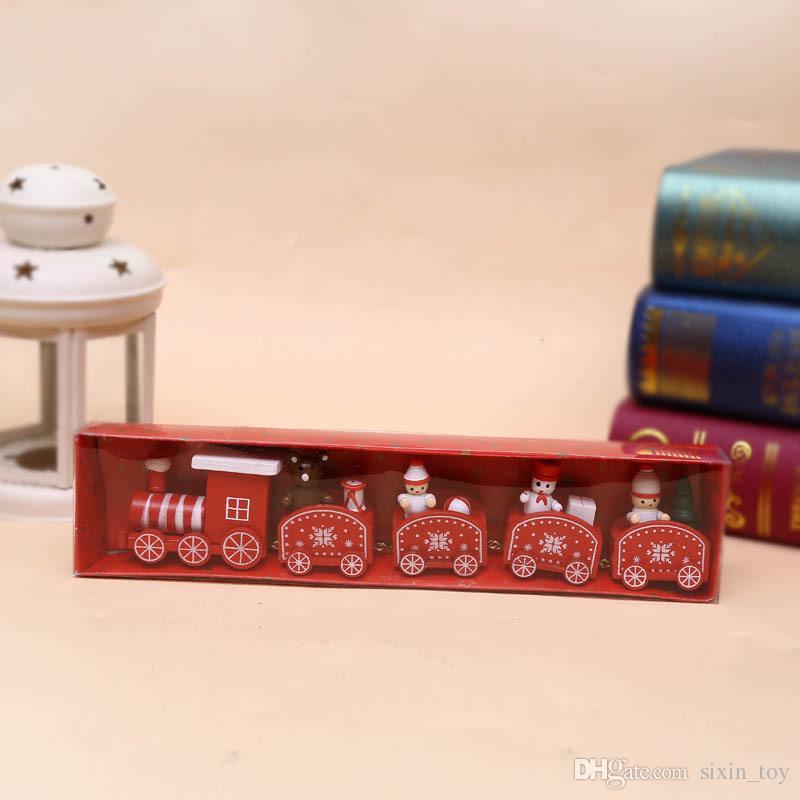 25 cm Sevimli Ahşap Noel Tren Model Oyuncak Dekorasyon Dekor Hediye Onarment Noel Hediye Santa Clause Kardan Adam Oyuncaklar Çocuklar Için