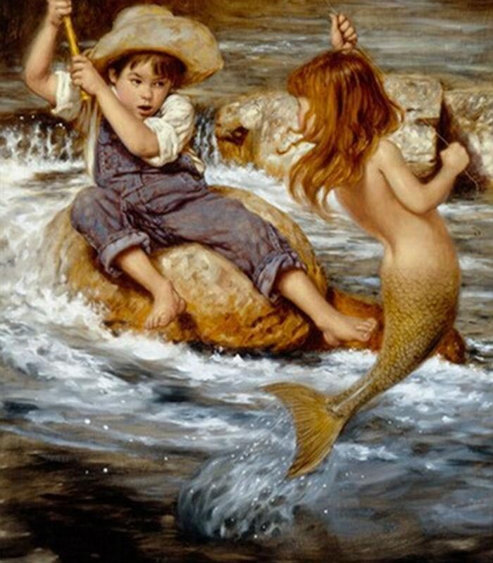 30x40cm Handicrafts Needlework Mermaid Diamond Painting Boy Fishing Decor Rhinestone Craft Mosaic Diamond Embroidery Sets Square Drill