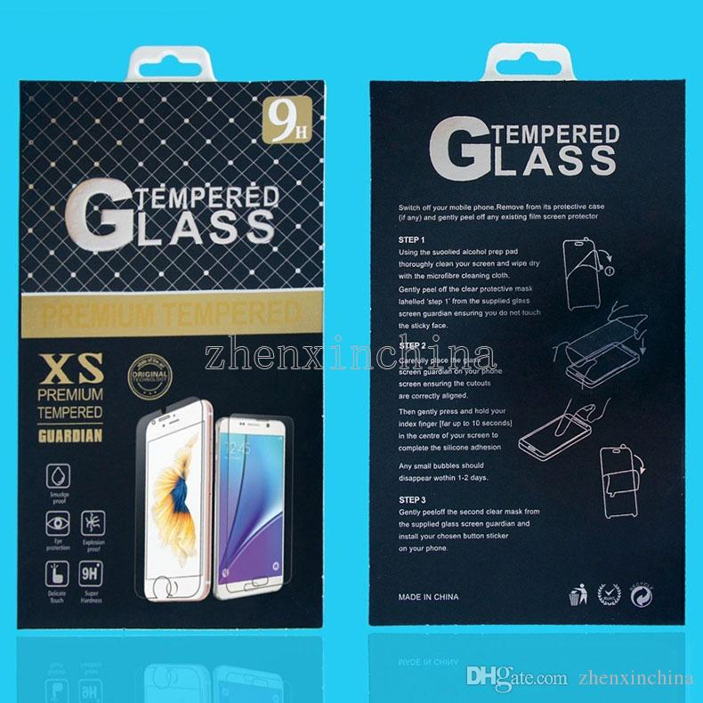 Paper Packaging Retail Package Box with hanger For iphone 7 6 5s samsung Mobile phone tempered glass screen protector