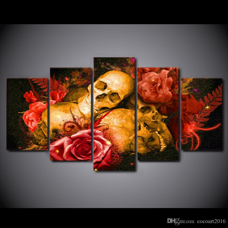HD Printed Canvas Art Abstract Skull Painting Red Rose Wall Pictures for Living Room Home Decor CU-2251B
