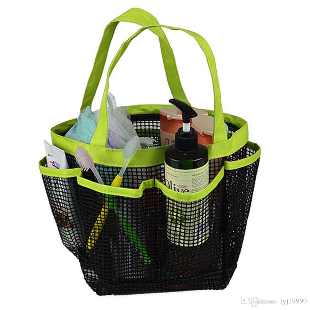 2018 Portable 8 Storage Shower Caddy Mesh Quick Dry Travel Tote Bag ...