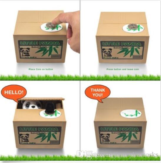 New Money Cute Automated Panda or Cat Stealing Coins Piggy Bank Itazura Money Saving Box
