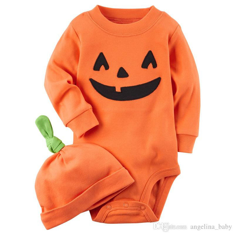 2017 Herbst Baby Halloween Strampler kürbis langarm overall baby body + hut mädchen jungen kleidung 2 stücke sets