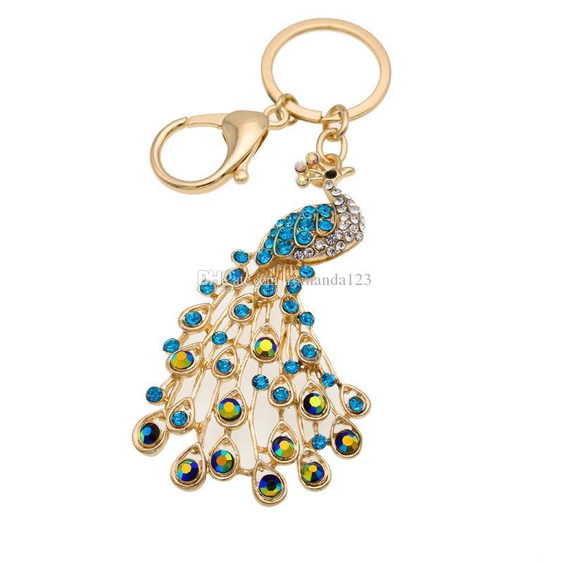 Peacock Peafowl 멋진 꼬리 귀여운 크리스탈 챠무 지갑 핸드백 차 열쇠 고리 열쇠 고리 파티 결혼식 호의 생일 선물 DHL 무료 배송