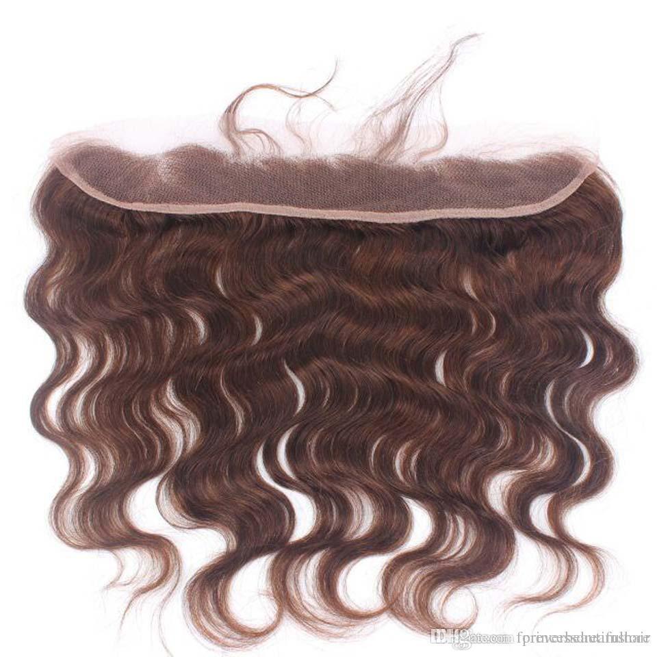 Brown Couleur 13x2 Oreille à L'oreille Dentelle Frontale Fermeture Avec Faisceaux Cheveux Brésiliens Corps Vague Avec Fermeture Trame de Cheveux Humains Avec Fermeture