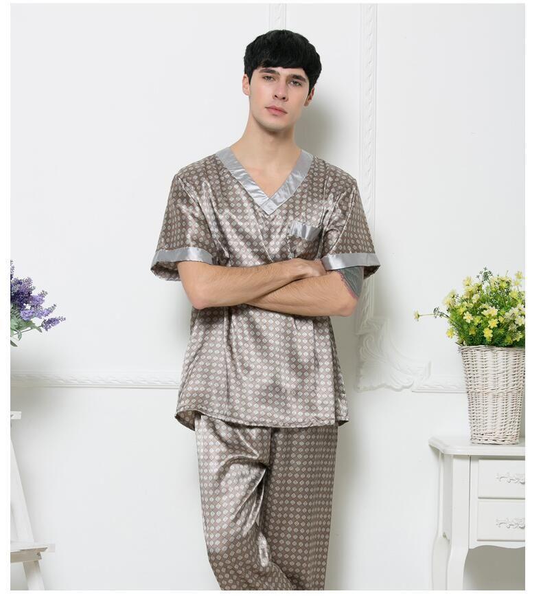a2fc6bccbf Men s Pajama Set 2017 Summer Brand Design Luxury Men Leisure Pajamas ...