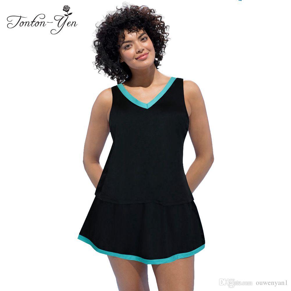933b5cb9ad0 2019 2017 Plus Size Swimwear Extra Large Tankini Trikini Big Bikini Set  Women Monokini Biquini Beach Wear Black Swimsuit With Skirt From Ouwenyan1,  ...