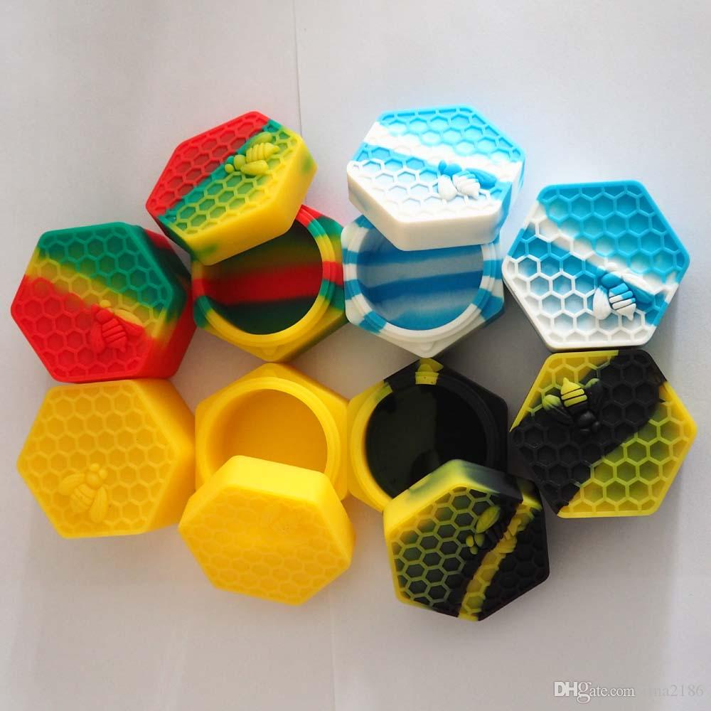 5 teile / los honeybee hexagon silikonbehälter gläser behälter silikonbehälter für öl crumble honig wachs silikon gläser dab
