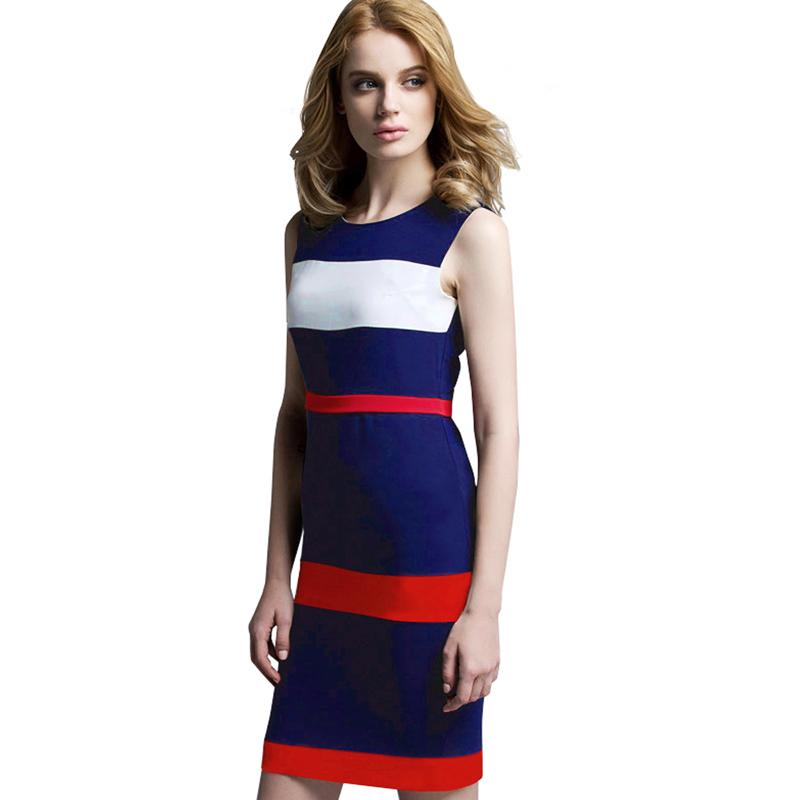 Vintage Patchwork Sleeveless Tank Women Dress Round Neck Colorblock Casual  Sheath Bodycon Office Business Summer Dresses B275 High Quality Dress  Renais ... 67aac36dbb59