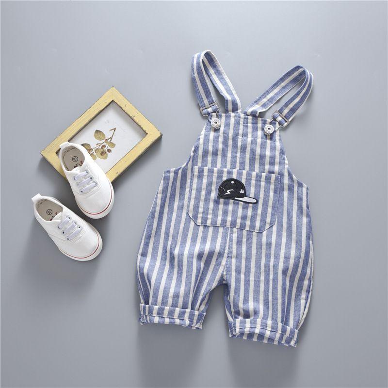 2017 Summer Baby Girls boys Striped Denim Suspender Jumpsuits Suits Kids Clothing Sets infant clothes Boys Pants Belt pants