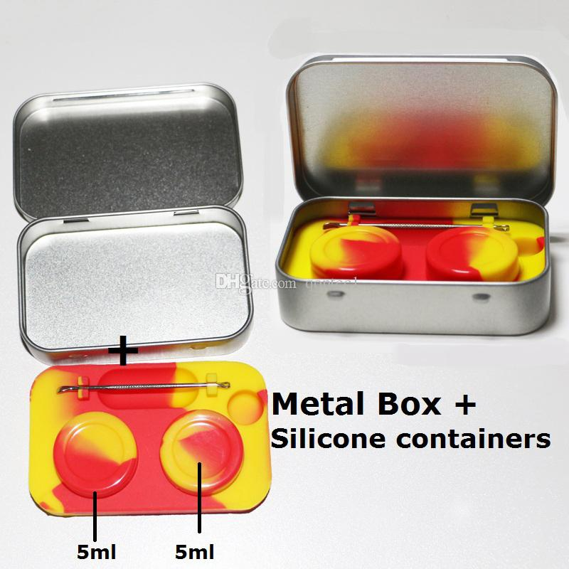 Electronic cigarette metal box set with 5ML silicone jar dab wax container dab tool for For Atomizer Vaporizer Oil