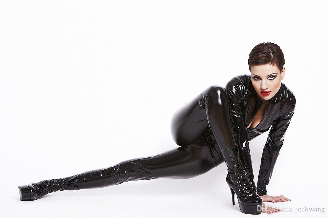 df47fa89775 WOMENS PVC Bodysuit Faux Leather Zentai Catsuit Zipper Lycra Halloween  Clubwear Superhero Batgirl PARTY Costume   HAT Gl822 Smlxlxxl Catsuit  Superhero ...
