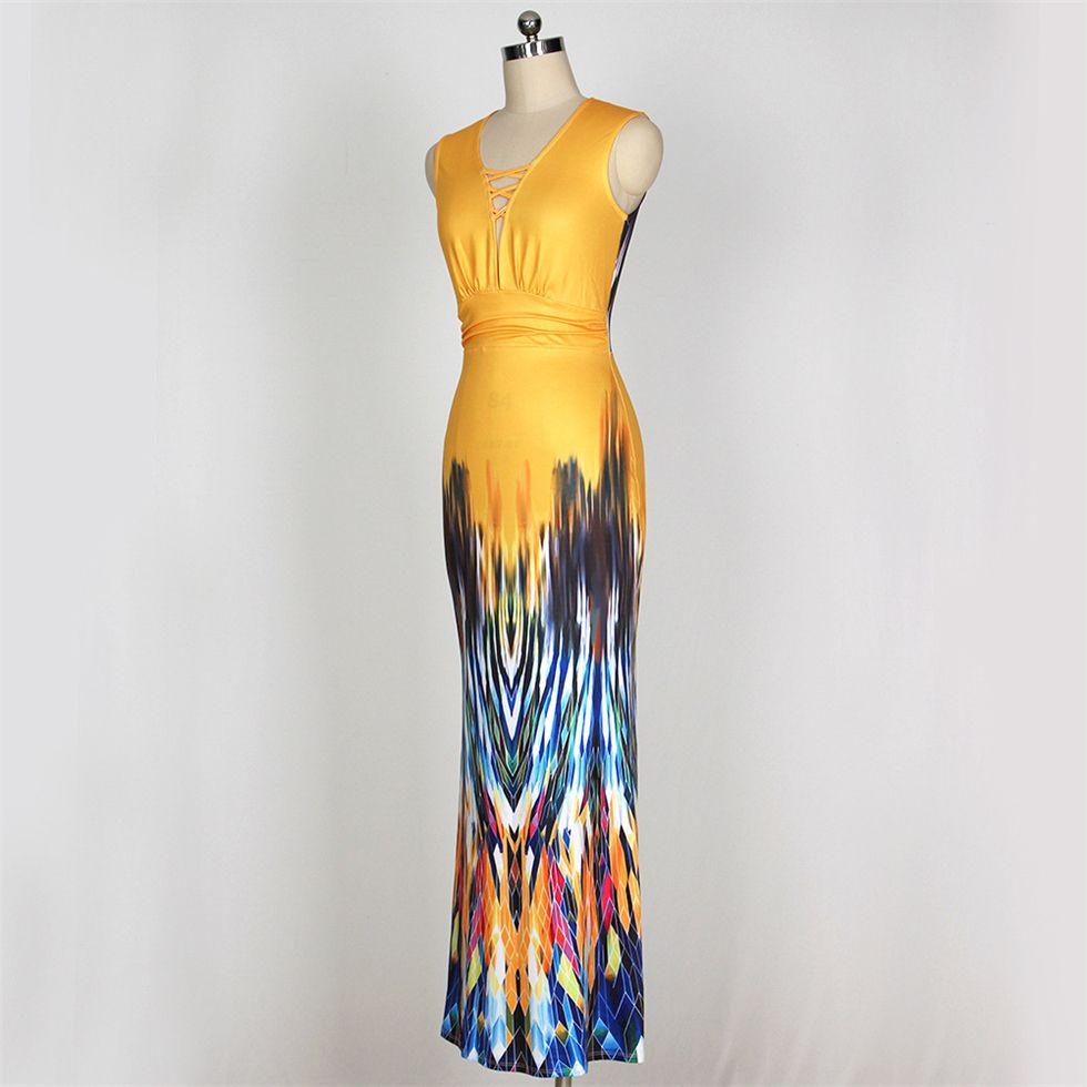 Bayan yaz elbiseler Süt ipek çok renkli baskı vestido longo de dresses 2017 moda seksi derin V mermaid elbise vintage bodycon elbise