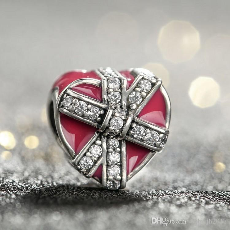 Valentine Magenta Present of Love Charms Beads 925 Sterling-Silver-Jewelry Enamel Crystal Bow Heart Beads Fits Brand Bracelets DIY Making