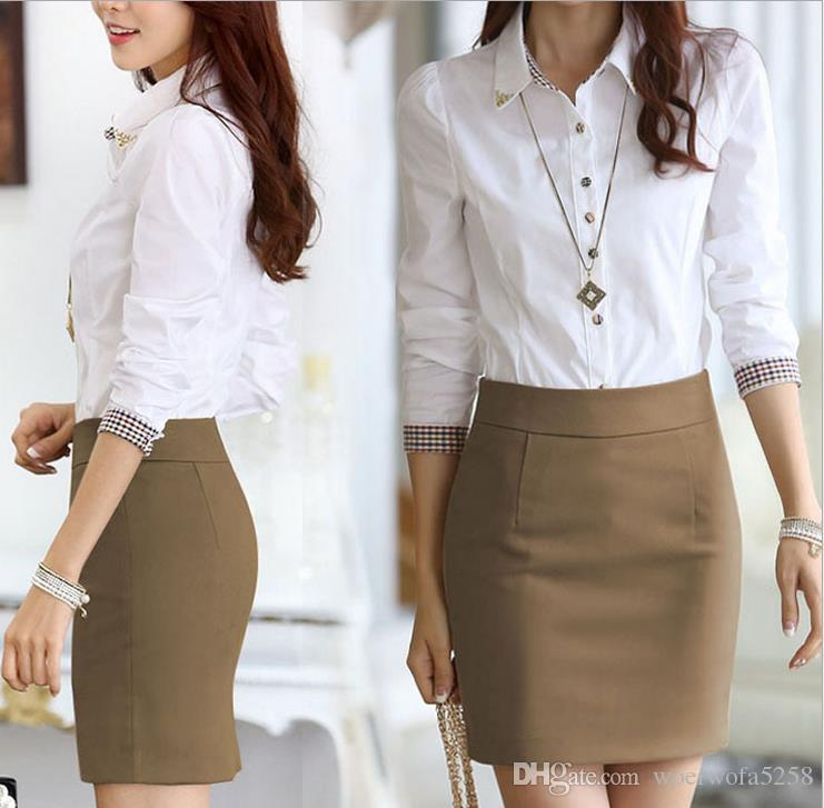 2019 2017 New Fashion Long Sleeve Shirt Short Skirt Suit ...