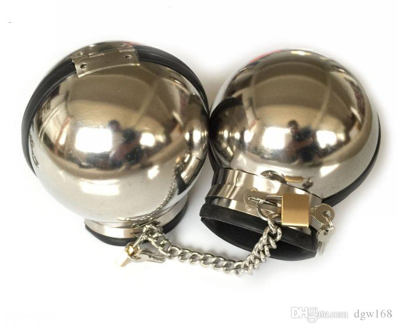 Sex Latest Luxury BDSM Male Female Stainless Steel Ball Manacle Wrist Restraint Hand Bondage With Chain Lock Sex Toy