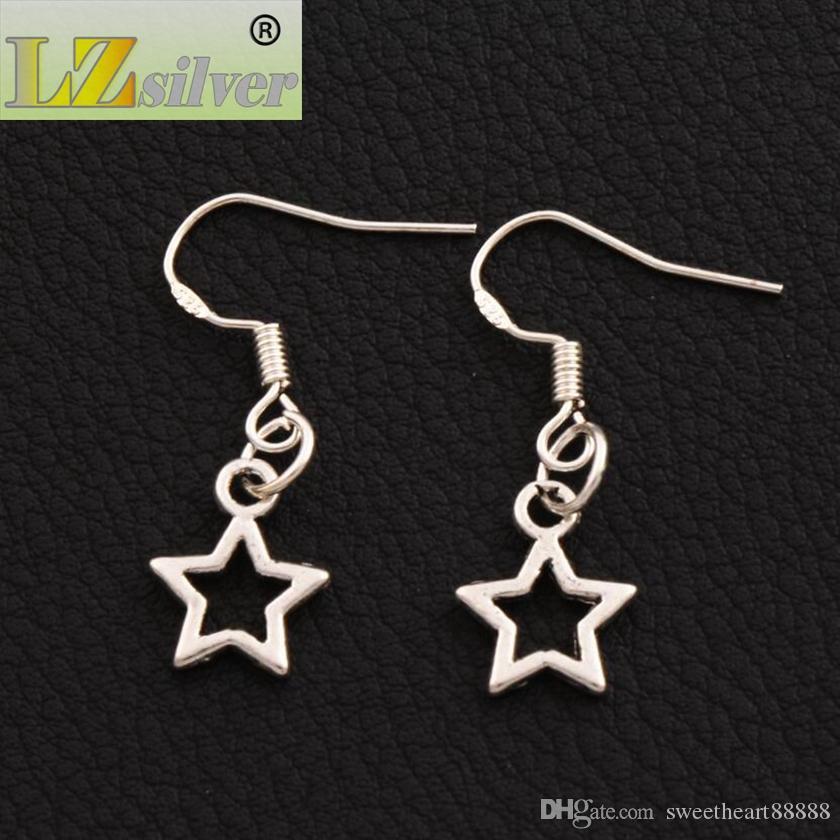 Küçük Açık Yıldız Küpe 925 Gümüş Balık Kulak Kancası 50 çift / grup Antika Gümüş Dangle Avize E138 9.8x26.5mm
