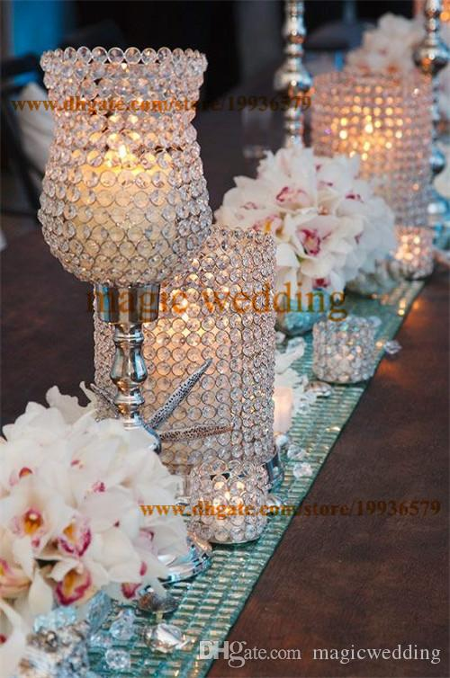 """Crystal chalice Shaped Candle Holders Silver 19"""" Tall Tulip Tea Light Holder For Wedding Centerpieces Decor"""