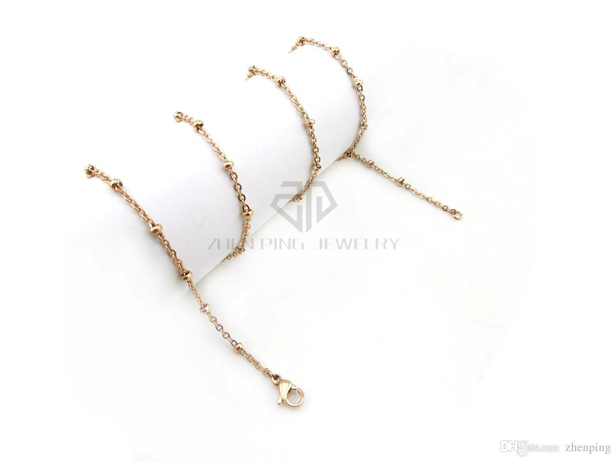 Frete grátis prata cadeia de estação de bola com fecho da lagosta 36-61 cm pode ser escolher cadeia de estação de bola de aço inoxidável