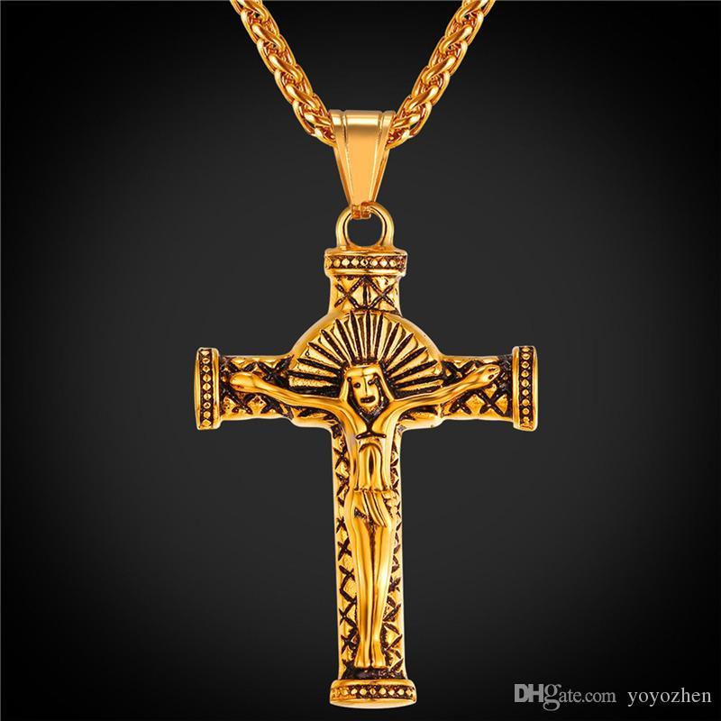 6c702cbfe2d2 Compre Cruz De Crucifijo De La Vendimia Collar Colgante 18K De Oro Real  Plateada De La Joyería De La Pieza De Jesús Cruz De Acero Inoxidable Para  Hombre A ...