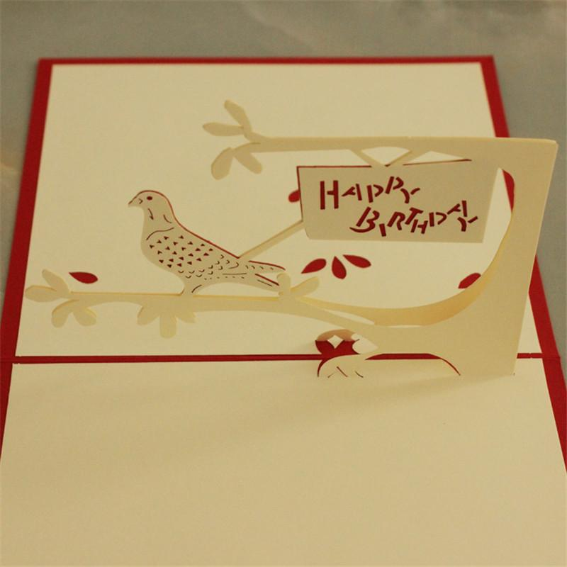 The Bird 3D Laser Cut Pop Up Paper Handmade Postcards Custom Greeting Cards Birthday Souvenirs Wishes Message 1316cm Free Online