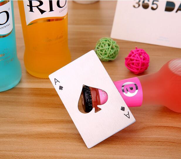 Nueva tarjeta de juego de póquer de venta caliente con estilo Ace of Spades Bar Tool Soda Beer Bottle Opener abridor de regalos DHL