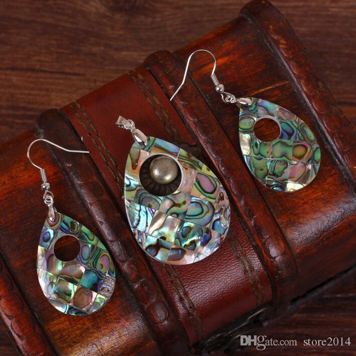 2017 neue Frauen Schöne Natürliche Abalone Shell Baumeln Ohrringe Reiki Pendulum Anhänger Sets Charms Europäischen Modeschmuck