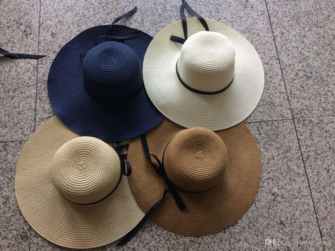 Chapéu de Sol das Mulheres Dobrável Grande Aba Larga Chapéu de Palha com Arco Praia de Verão Cap Proteção UV 6 pçs / lote