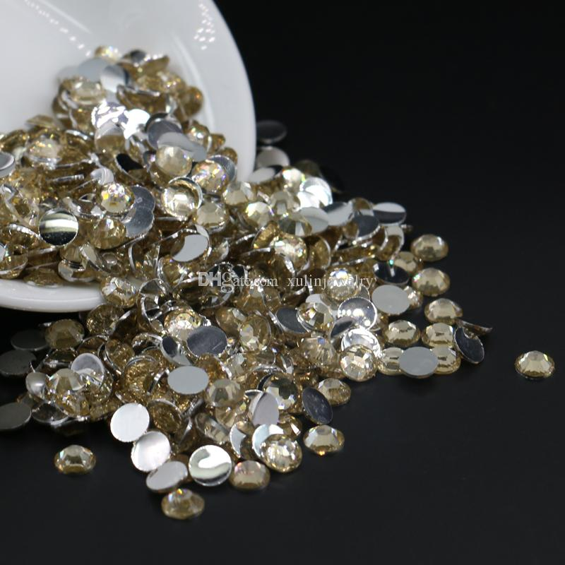 3mm,4mm,5mm,6mm Golden Shadow Flatback Rhinestones, 14 Cut Facets Flat Back Resin Beads All Size