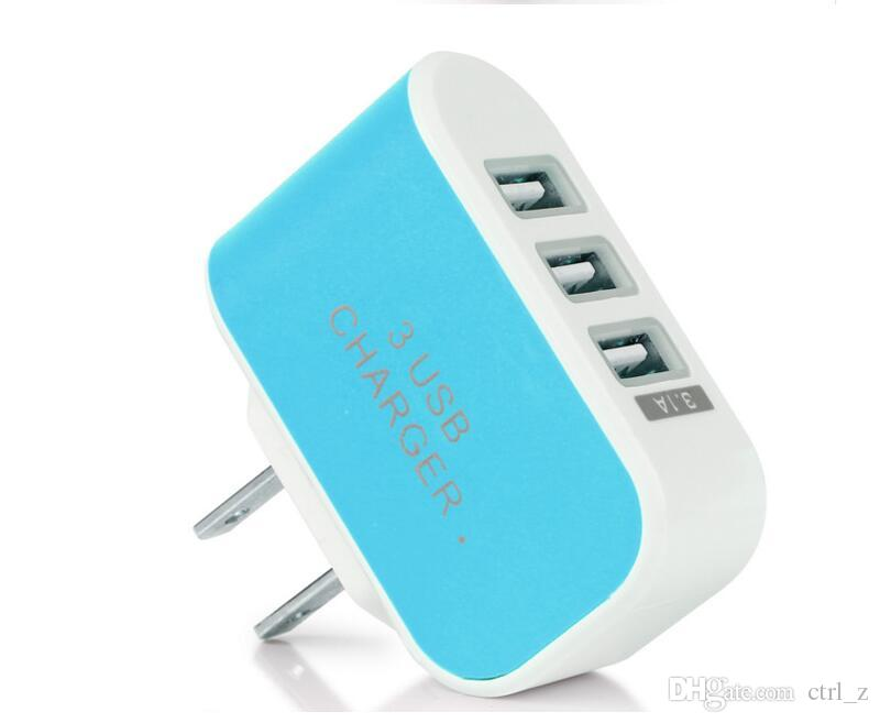 Candy 3 USB wall charger travel Adapter us plug Power Adaptor with triple USB Ports For iphone 7 samsung S8 Mobile Phone