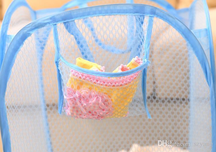Bolsa de lavandería de malla plegable Ropa Suministros de almacenamiento Pop Up Lavado de ropa Cesta de lavandería Cesta de basura Bolsa de almacenamiento de malla SN2958