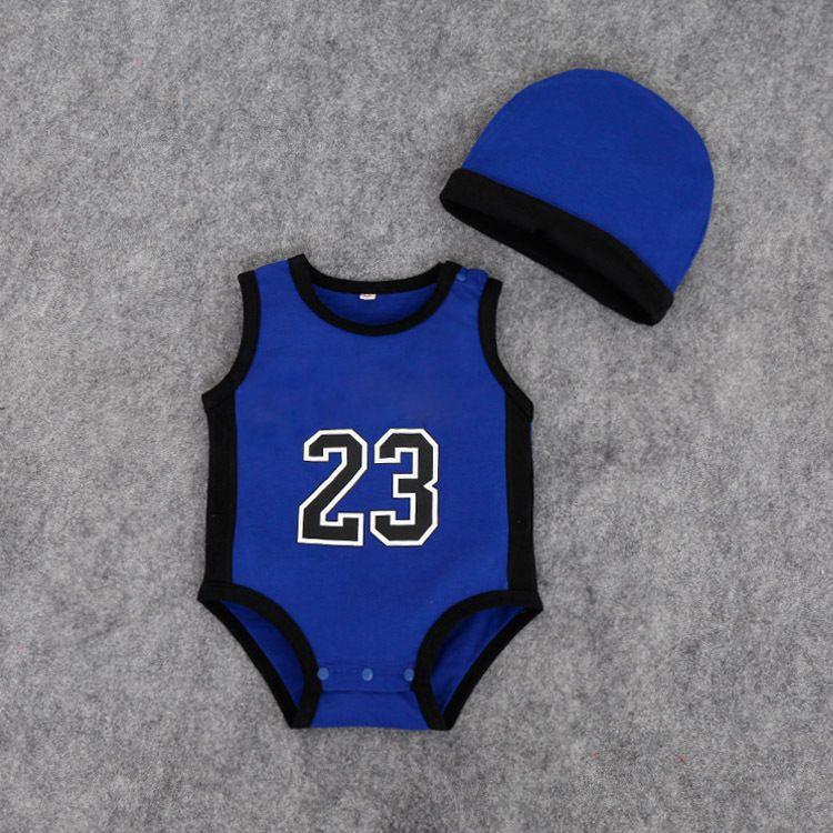 Baby-Strampler-Sommersäuglingskindzahl 23 Zahl Overallskinder, die Kleidung mit der Zahl Spielanzugbabykleidung des Hutjungen klettern