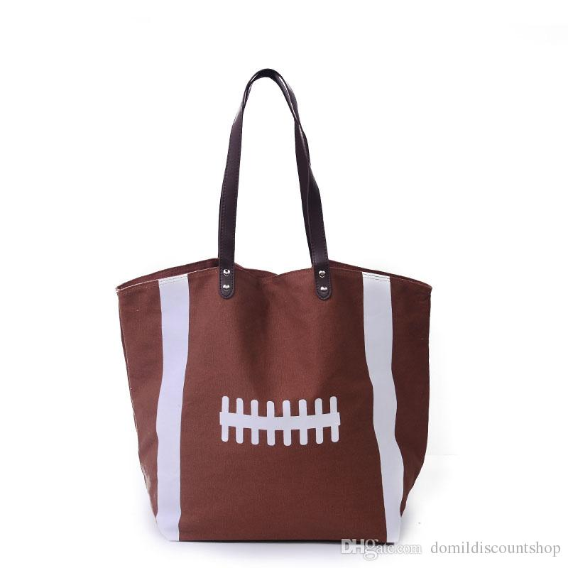 Football Tote Bag Canvas Material Women Handbag With PU Faux Leather Handle  And Zipper Pocket Inside DOM292 Bags For Sale Handmade Leather Bags From ... 22f160dfa2