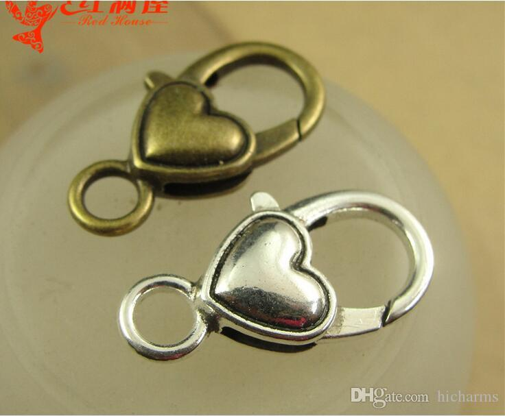 27*14MM Antique bronze plated heart-shaped lobster clasp for bracelet, vintage silver jewelry clasp for necklace, metal key ring holder hook