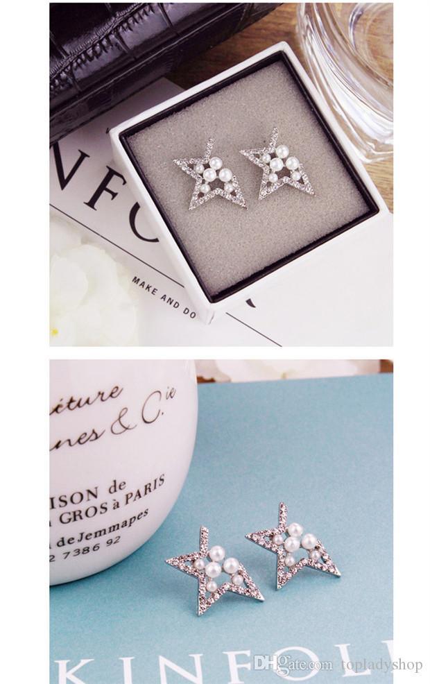 Les diamants de perle de dames ont évidé des boucles d'oreille d'étoile à cinq branches en gros livraison gratuite