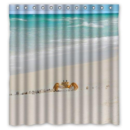 2018 Cute Crab Walking In Beautiful Beach Shower Curtain 100 Polyester Waterproof Fabric 66x72 Inches From Littleman913 402