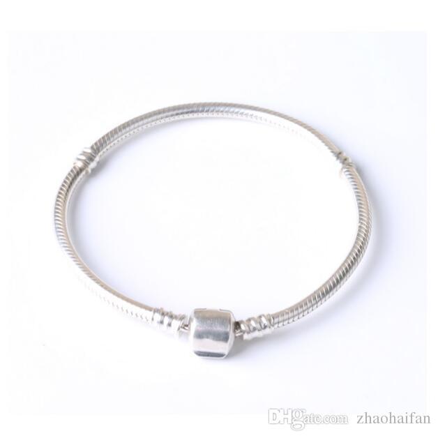 2018 nouveaux bracelets en argent de la mode en argent sterling 925 véritables breloques bracelets avec chaîne de serpent Cz clair bijoux bricolage