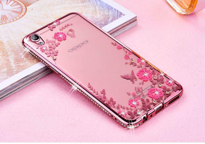 Rhinestone TPU Cas Pour OPPO R9 R9S Glitter Mignon De Luxe 3D Diamant Couverture Or Rose Téléphone cas