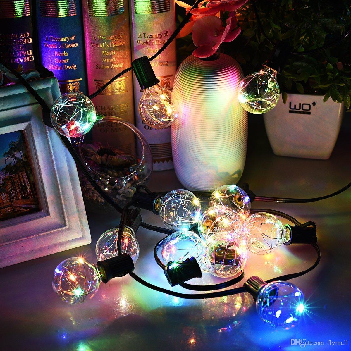 G40 Noel Işıkları Dünya Dize Işık 25LED Ampul Bahçe için Açık Dekoratif Bakır Tel Dize Işıkları, Patios, Ev Dekor, Düğün