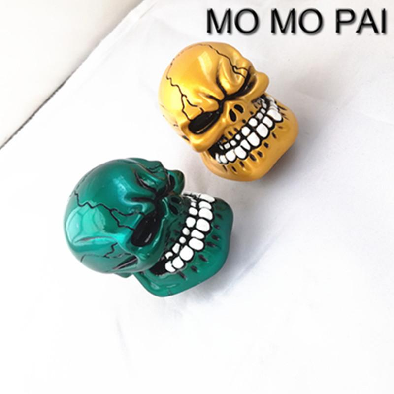 HOT MT car styling gear shift knob shift lever skull green/gloden universal fit for MAZADA BMW TOYOTA SKODA HONDA VW BENZ
