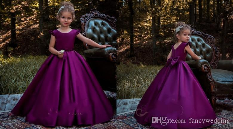 Jewel Ball Gown Bow Satin Floor Length Ruffles Cheap Flower Girl Dresses Wedding Dresses Custom Made Cute