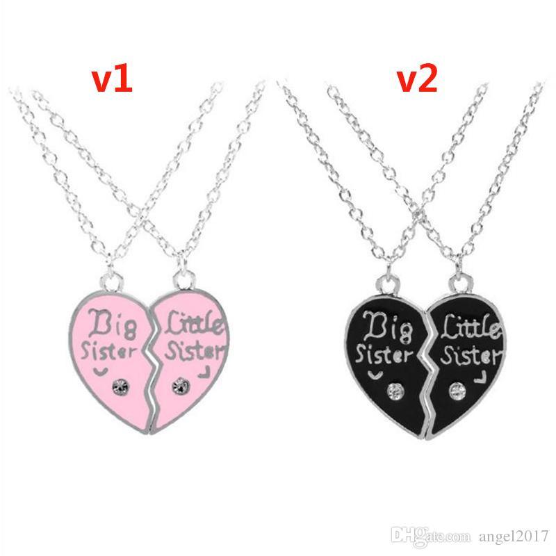 Europa und die Vereinigten Staaten Big Little Sister Buchstaben Diamant herzförmige Nähte Halskette gute Schwester Freundin Familie Kette