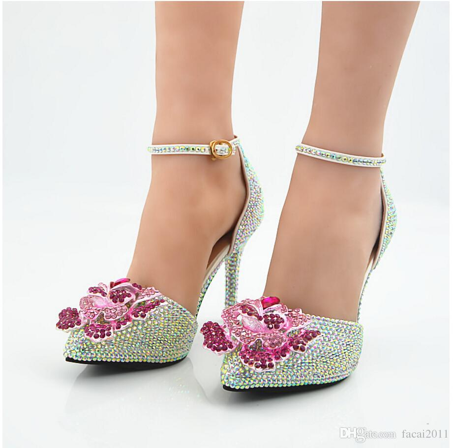 New White High Heeled Slipper Pointed Pink Monster Kyi Ab Drill Manual Shoes Bride Wedding Sandals With Diamonds For