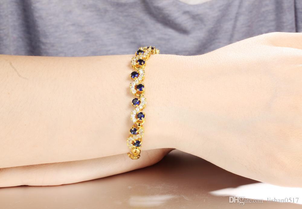Venta caliente Mujer Blanco / Azul Cubic Zircon Chain Link Pulsera Accesorios Moda 18K Chapado en Oro Mujeres Joyería de La Boda MHKS459