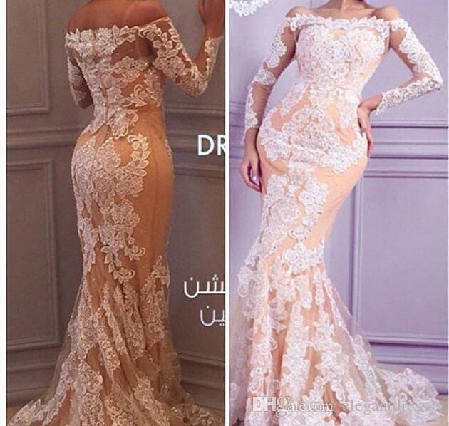 2021 New Sexy Arabic Dresses da sera Abiti a spalla maniche lunghe Sheer Bianco Pizzo Appliques Beaded Pageant Abiti Formale Donne Abiti da donna