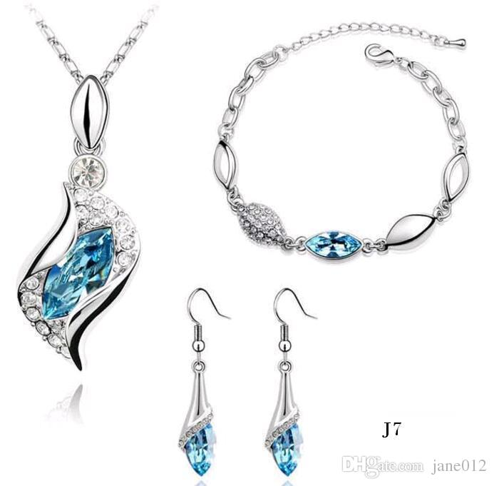 New Arrival Austrian crystal Necklace Earrings Bracelet Sets Blue Diamond Shoe Jewelry set for New Year Party