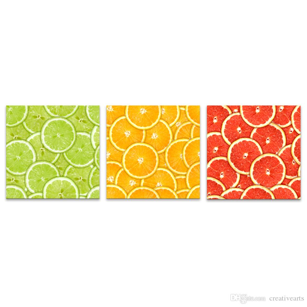 HD Printed Triptych Lemon Fruit Canvas Prints Wall Paintings for ...