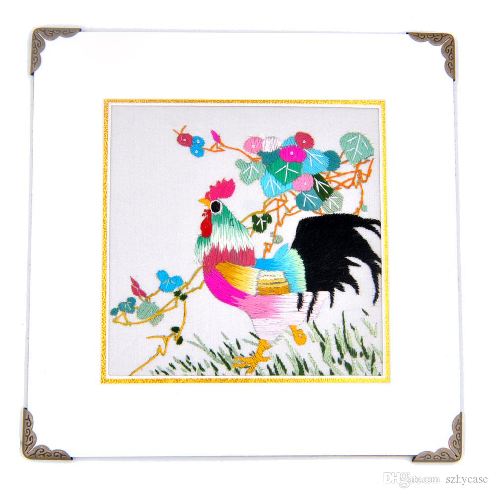 100% Hand-made Chinese Animals Themes Embroidery with Antique Gold Wrap Angle or Frame for Home Wall Decoration Special Holiday Gift