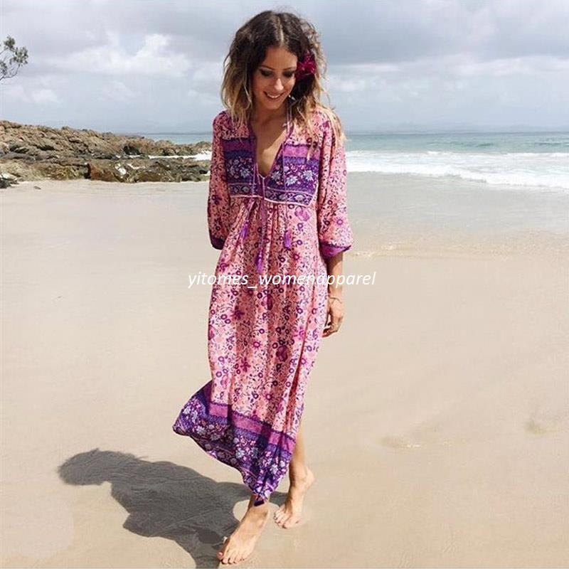 978a4401bc rosa boho beach vestidos elegante estampado de flores de algodón maxi dess  V-cuello de manga larga borla vestidos de mujer nuevos vestidos de  vacaciones de ...