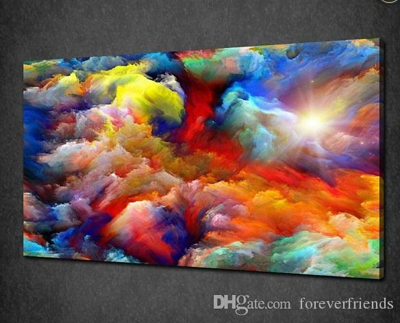 Framed Colorful Cloud, High Quilty Pure Handpainted Modern Abstract ...